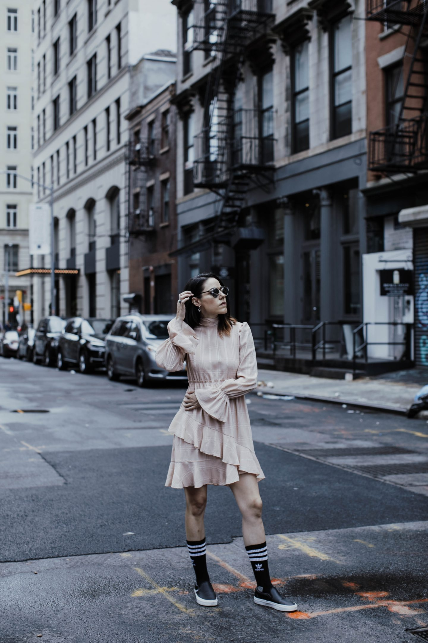 Rent The Runway Fluid Check Dress See By Chloe x Vans Slides x Adidas x Dio So Real Sunglasses