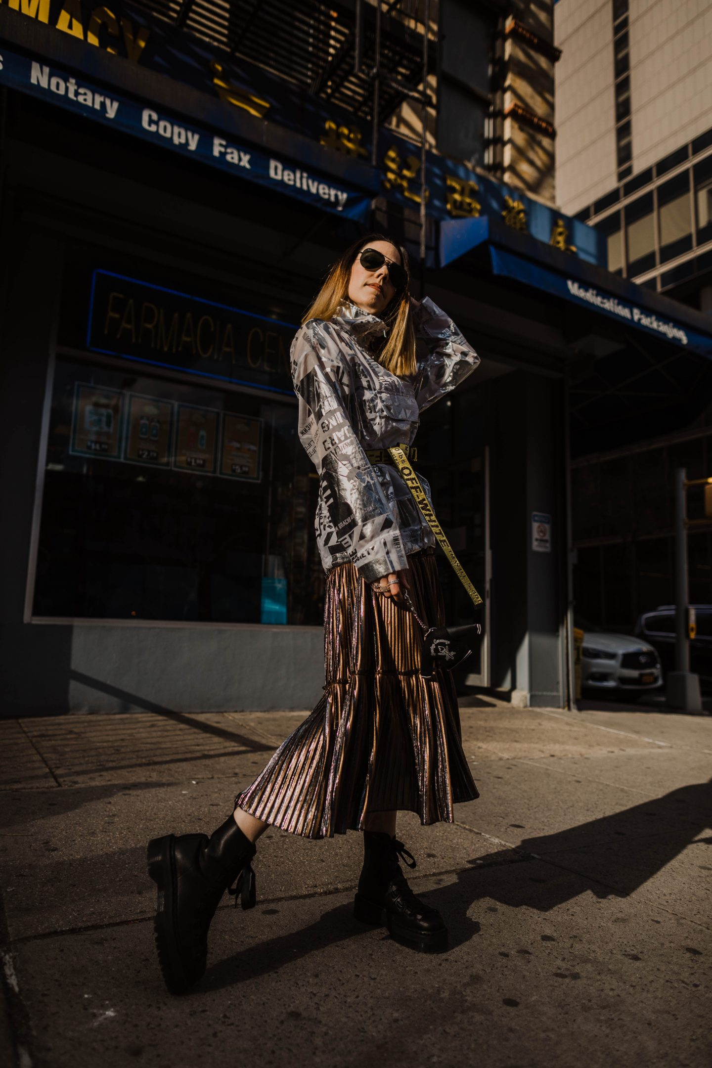 Nicole Miller Gold Pleated Two Tone Skirt x Forever 21 Graphic Anorak x Dr Marten's Trevonna Platform Boots x Off-White Industrial Belt x Rent The Runway Unlimited